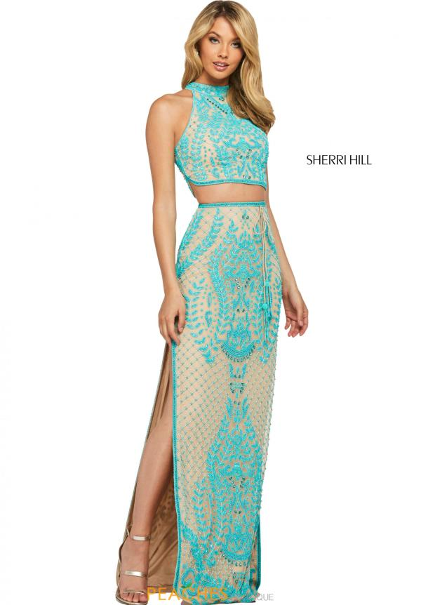 Sherri Hill High Neckline Applique Dress 53436