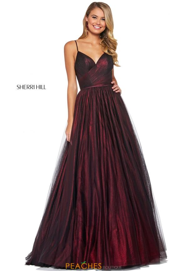 Sherri Hill V-Neck A Line Dress 53480