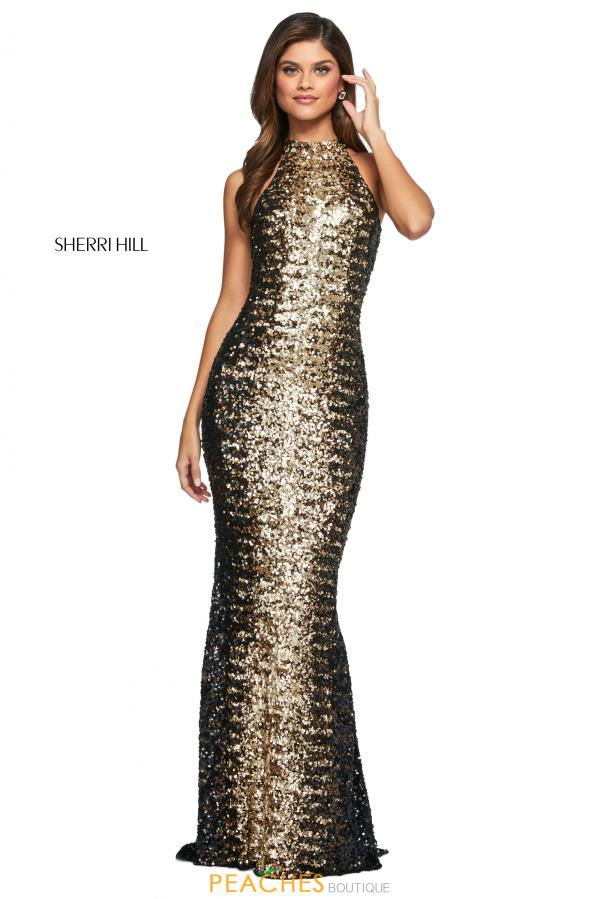 Sherri Hill High Neckline Beaded Dress 53667
