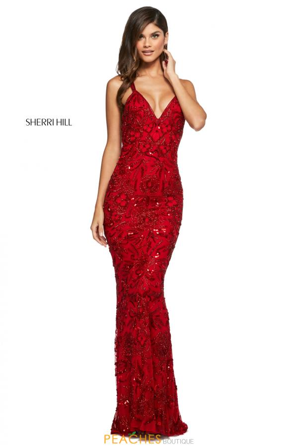 Sherri Hill V-Neck Beaded Dress 53689