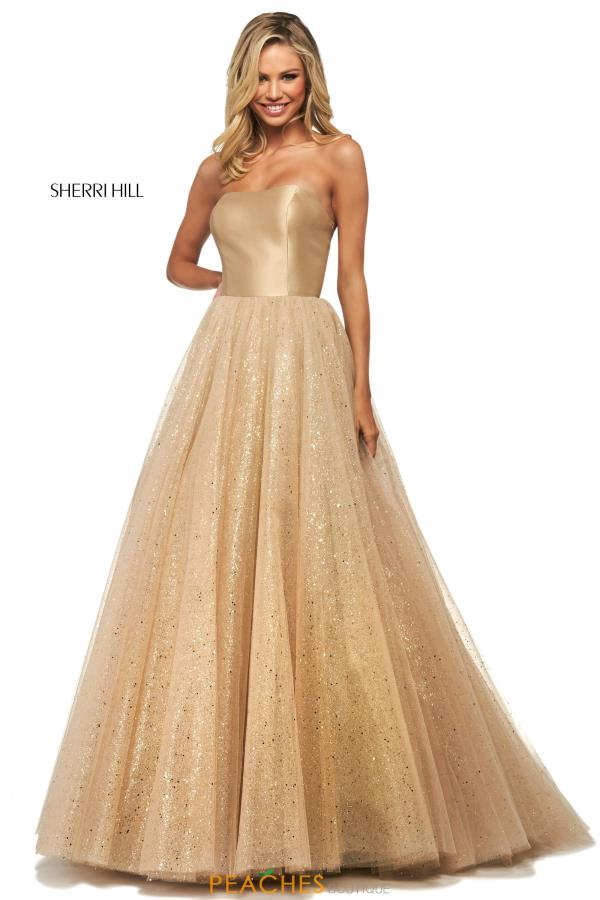 Sherri Hill Strapless Glitter Tulle Dress 53747