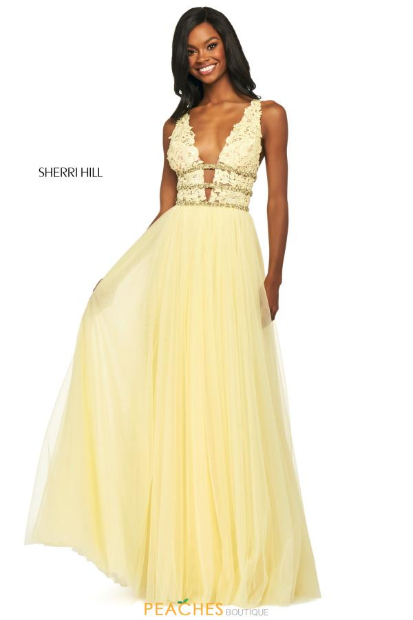 Sherri Hill V-Neck Tulle Dress 53806