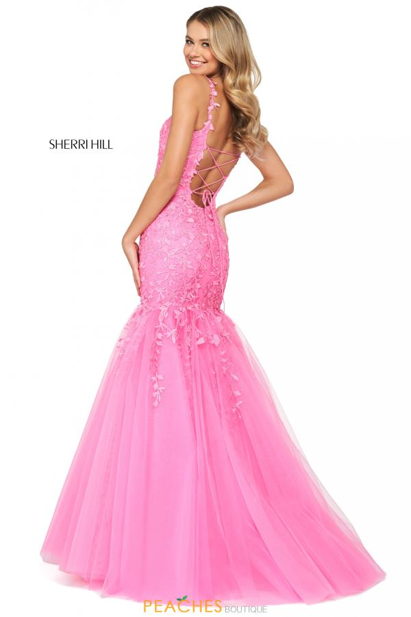 Sherri Hill Scoop Neckline Applique Dress 53826
