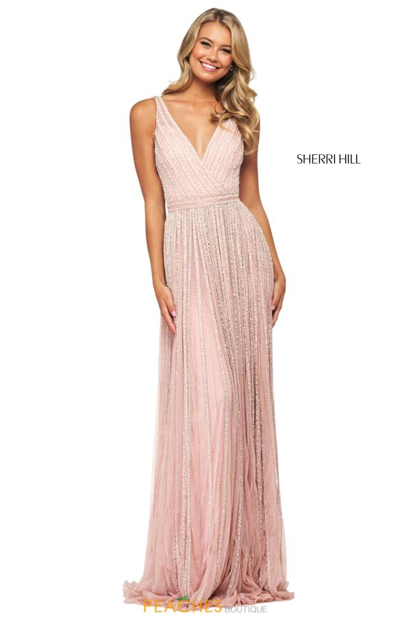 Sherri Hill V-Neck Beaded Dress 53867