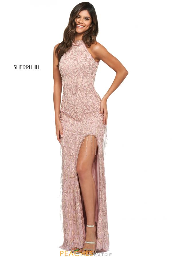 Sherri Hill High Neckline Beaded Dress 53882
