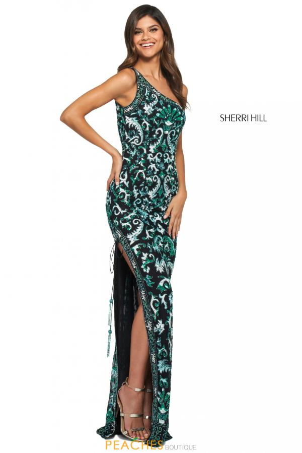 Sherri Hill Single Shoulder Beaded Dress 53898