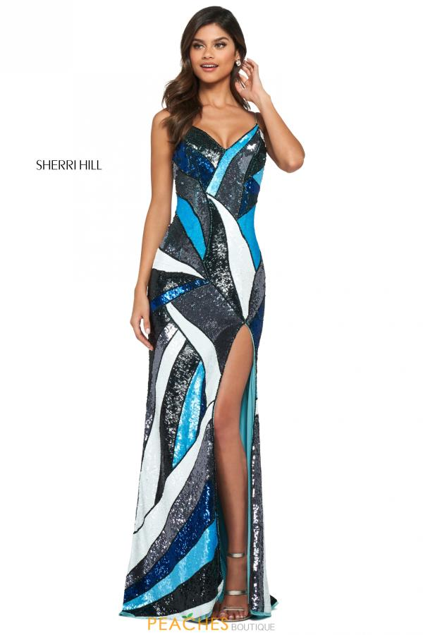 Sherri Hill V-Neck Sequins Dress 53899
