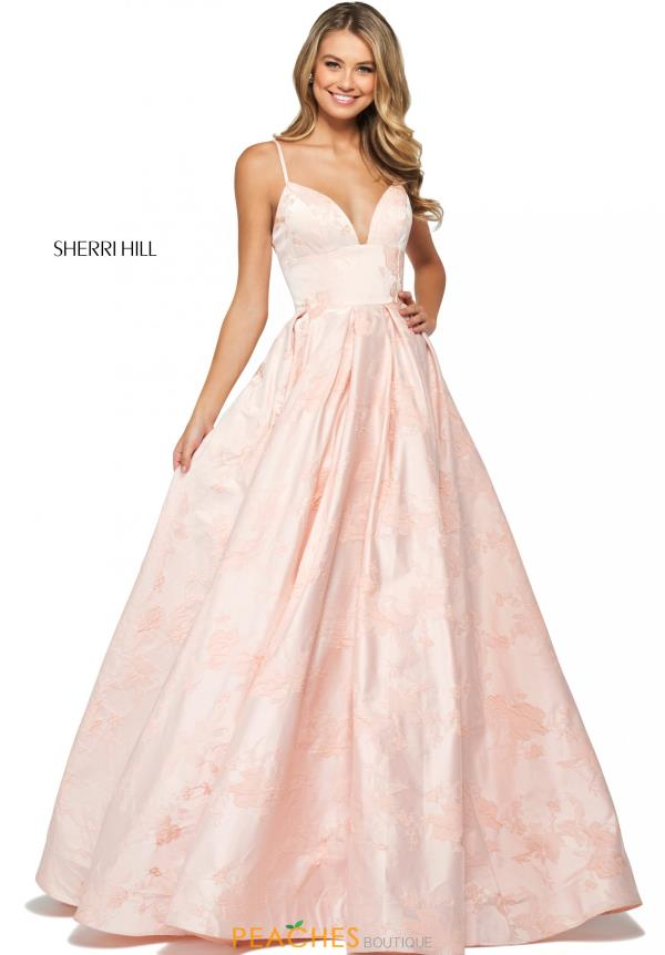 Sherri Hill V-Neck Brocade Dress 53900