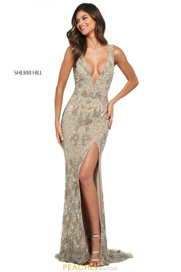 Sherri Hill V-Neck Beaded Dress 53912