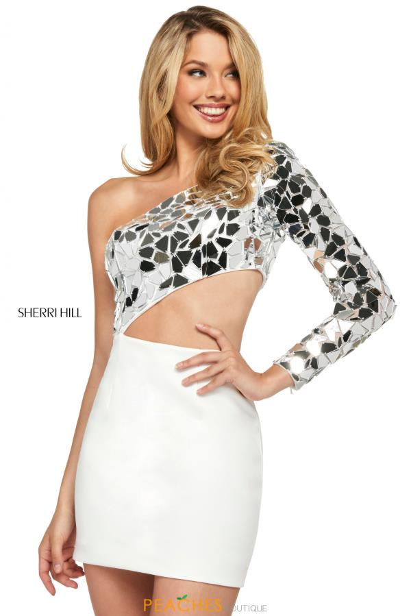 Sherri Hill Short Fitted Beaded Dress 53468