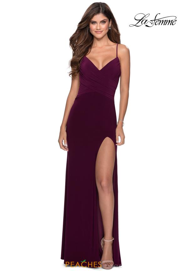 La Femme Fitted Jersey Dress 28531