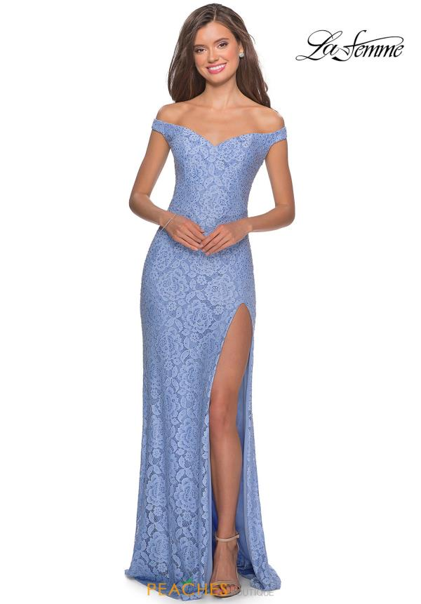 La Femme Cap Sleeve Long Dress 28301