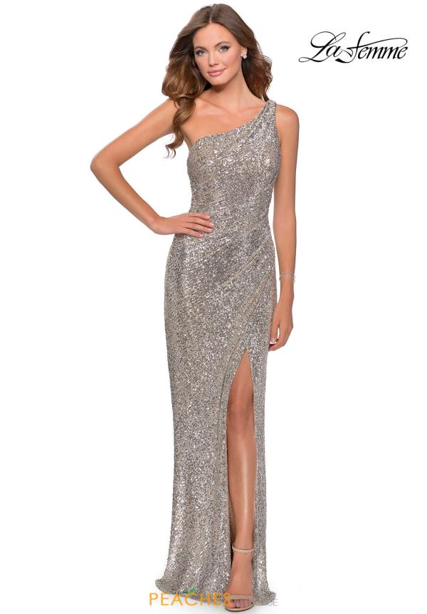 La Femme Long One Shoulder Dress 28401