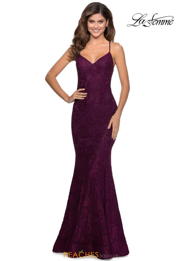 La Femme Long Fitted Dress 28504