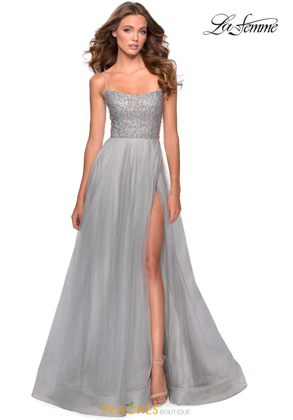 La Femme Beaded A Line Dress 28530