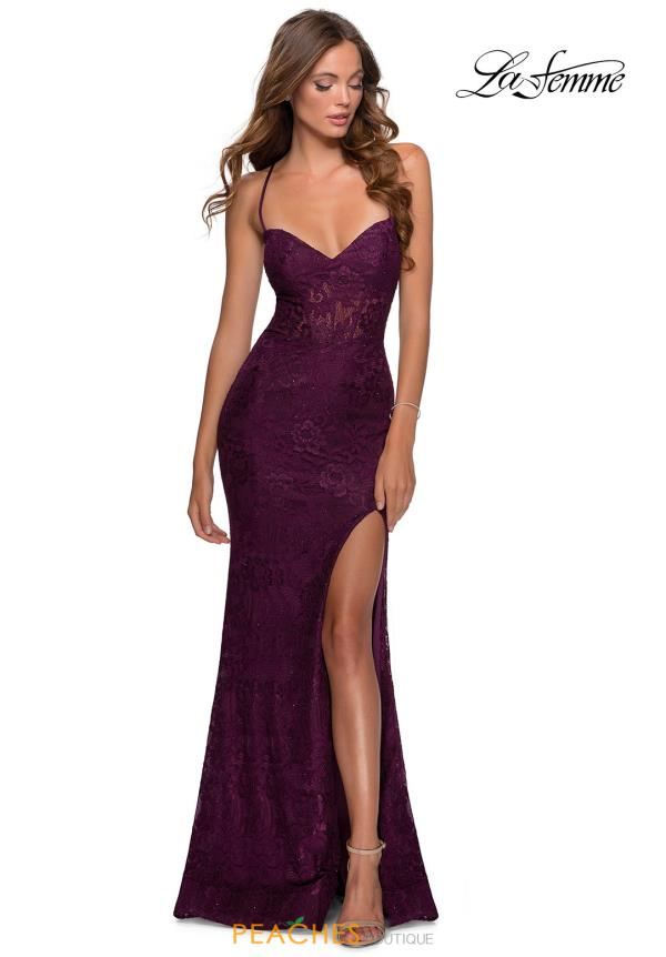 La Femme Beaded Lace Dress 28534