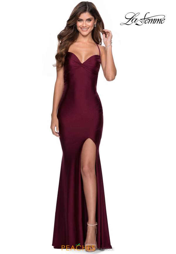 La Femme Long Fitted Dress 28536