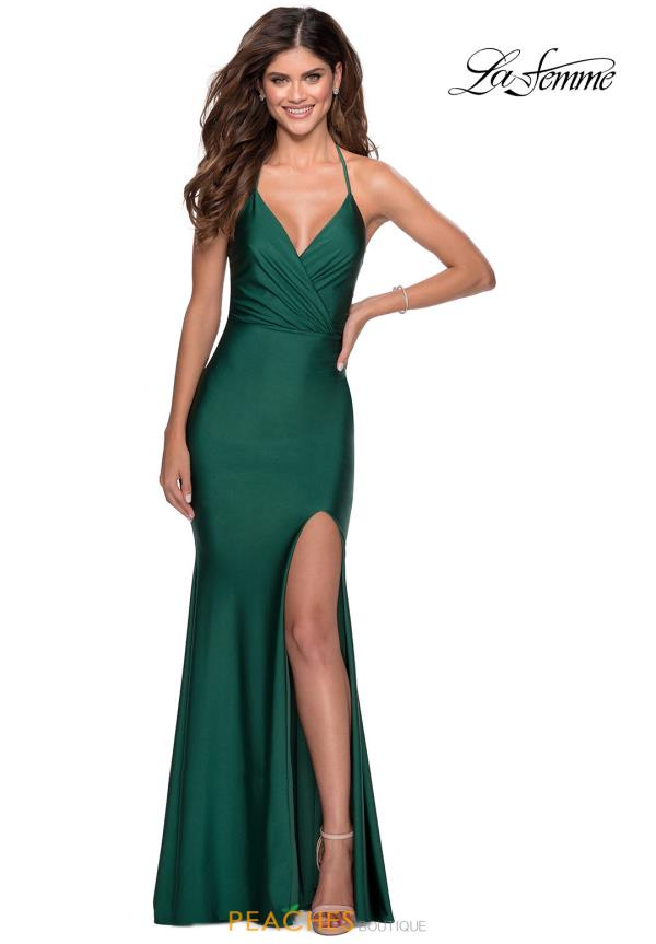 La Femme Long Fitted Dress 28552
