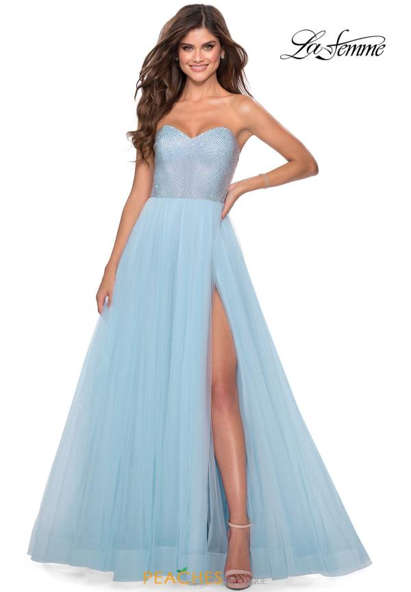La Femme Beaded Strapless Dress 28559
