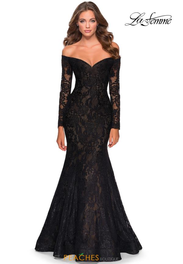 La Femme Fitted Beaded Dress 28569