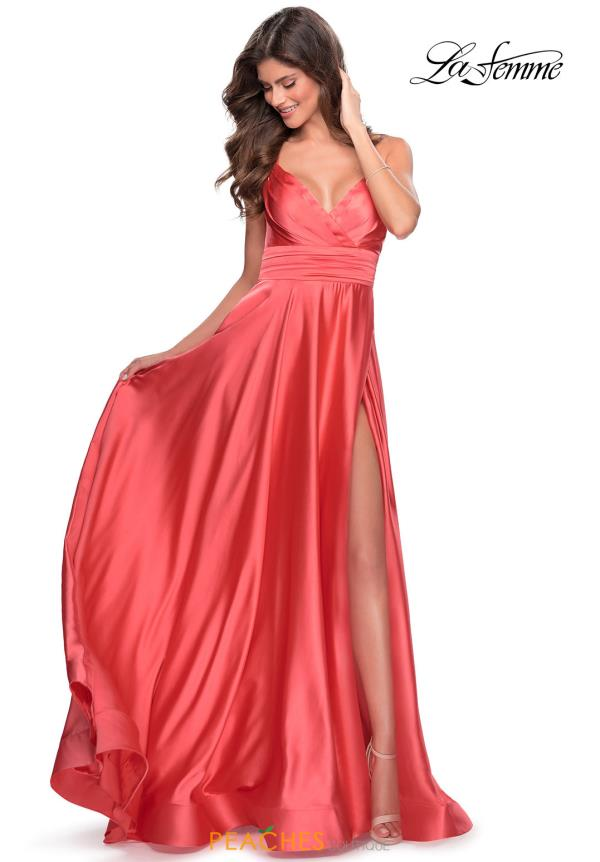 La Femme Satin V Neck  Dress 28571