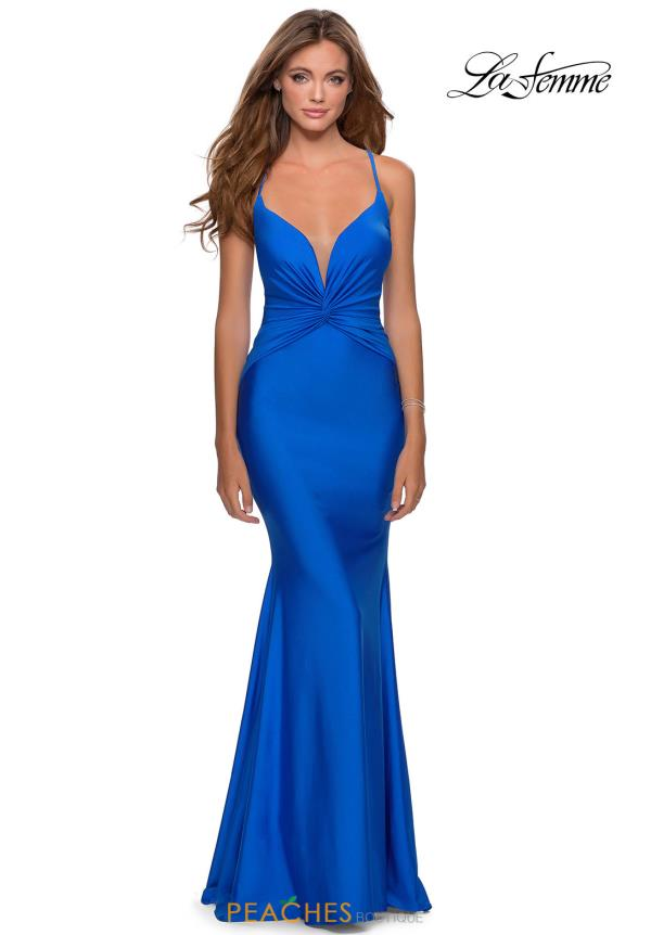 La Femme V Neck Fitted Dress 28581