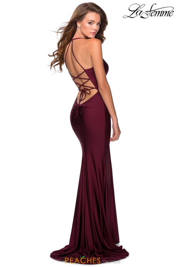 La Femme Fitted Halter Dress 28593