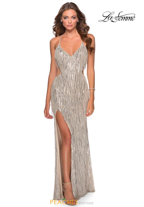 La Femme Beaded Long Dress 28609