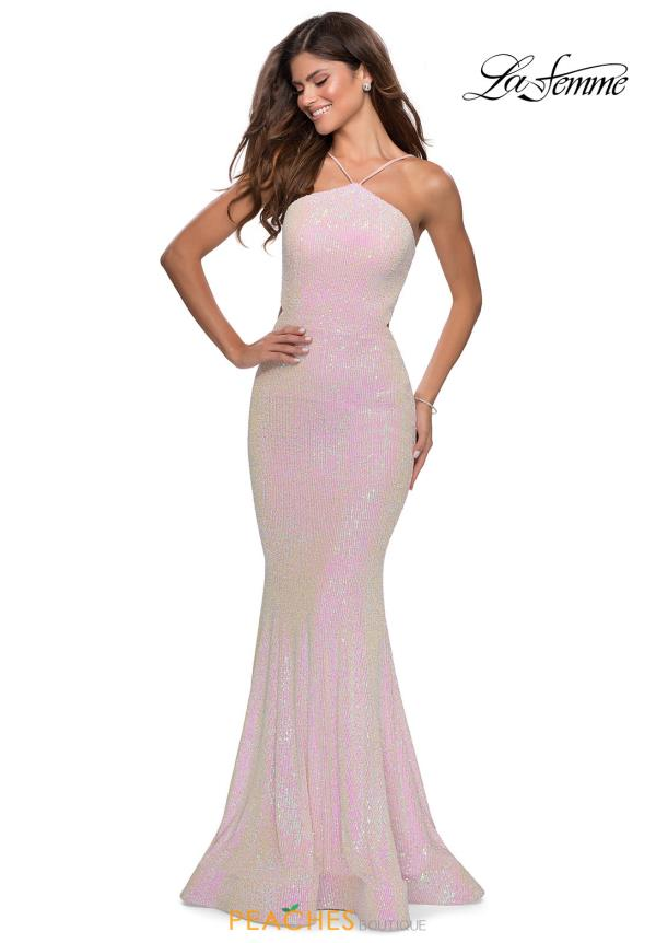 La Femme Sequin Halter Dress 28614