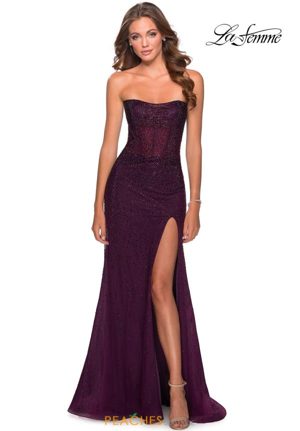 La Femme Fitted Strapless Dress 28621