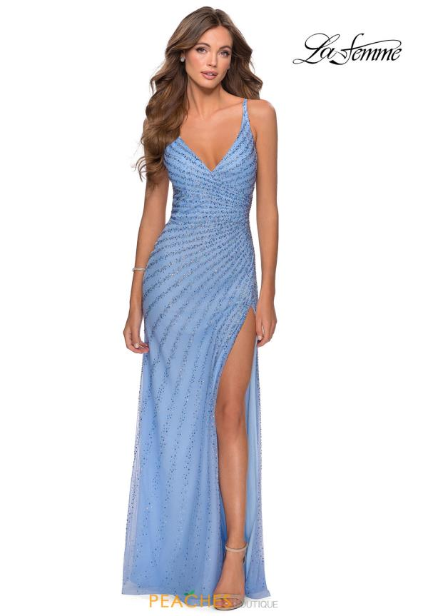 La Femme Beaded Fitted Dress 28646