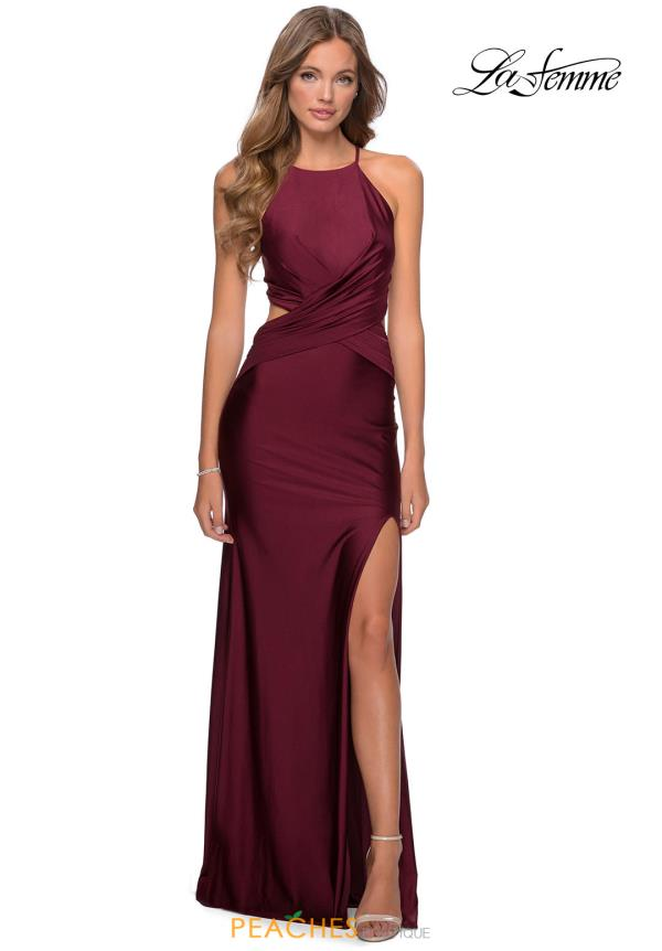 La Femme Halter Fitted Dress 28834