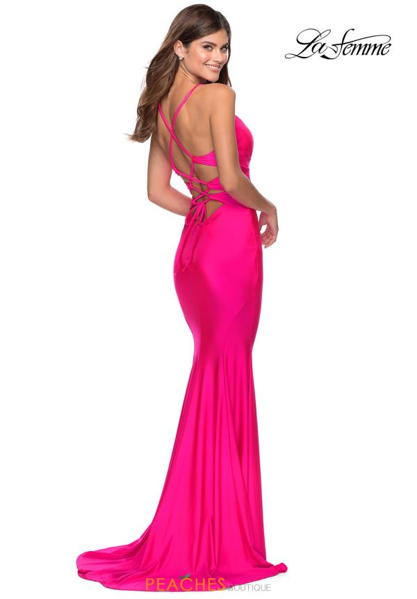 La Femme Long Fitted Dress 28905