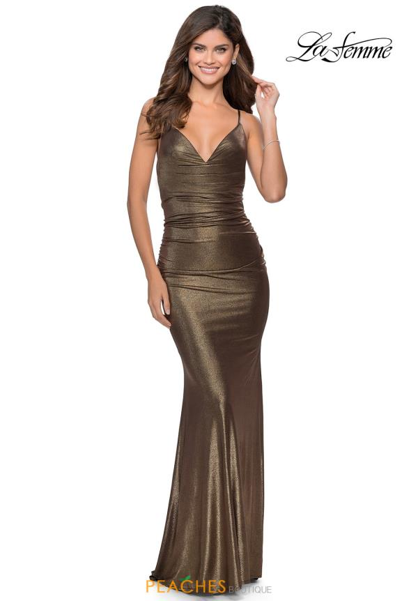 La Femme Fitted Glitter Dress 28913