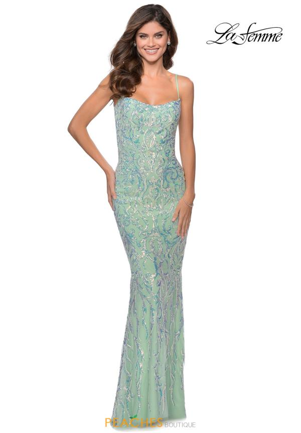 La Femme Fitted Sequin Dress 28918