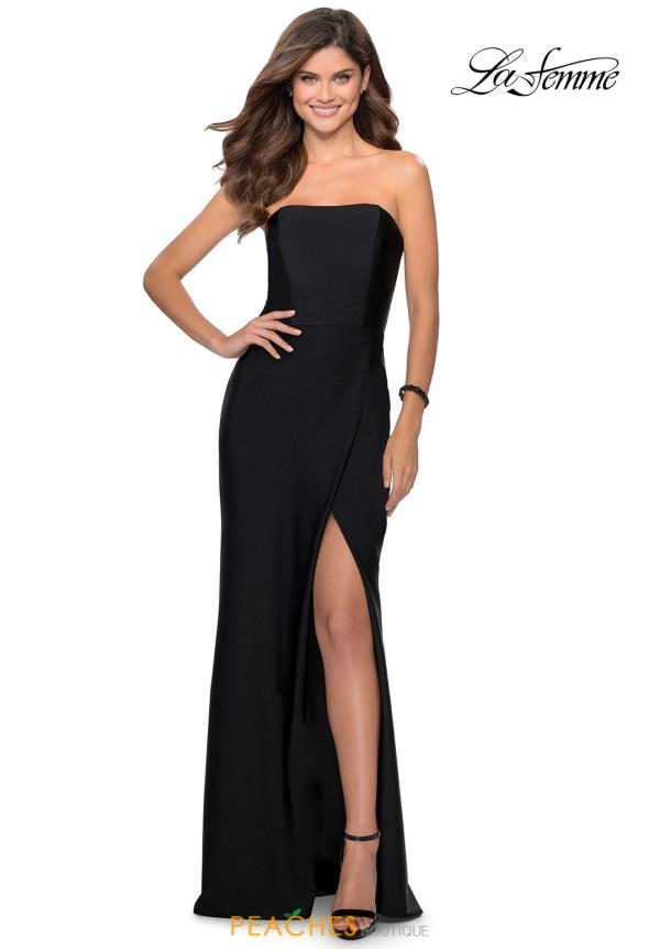 La Femme Long Fitted Dress 28944