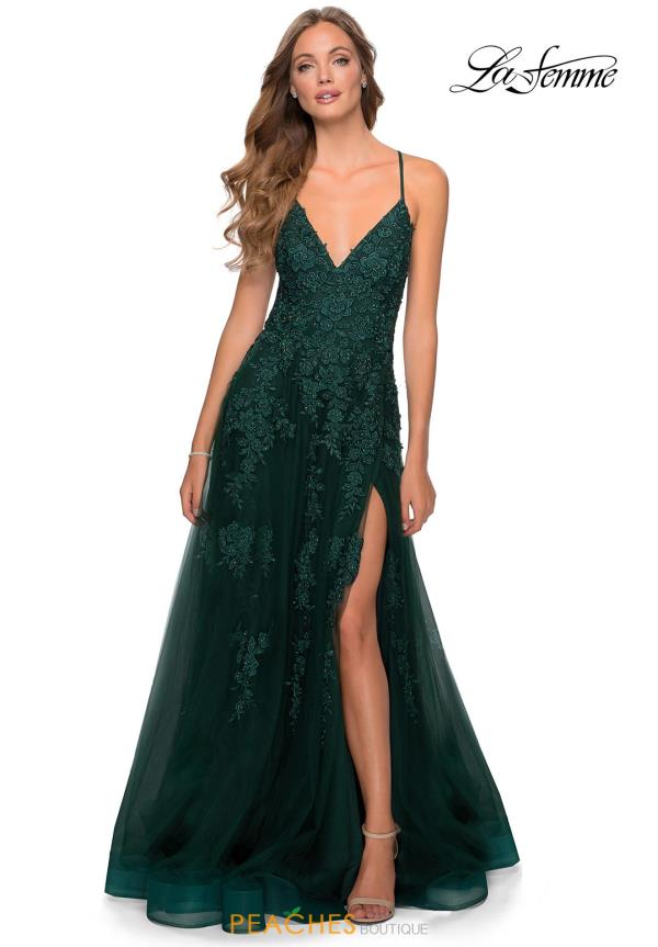 La Femme Beaded A Line Dress 28985