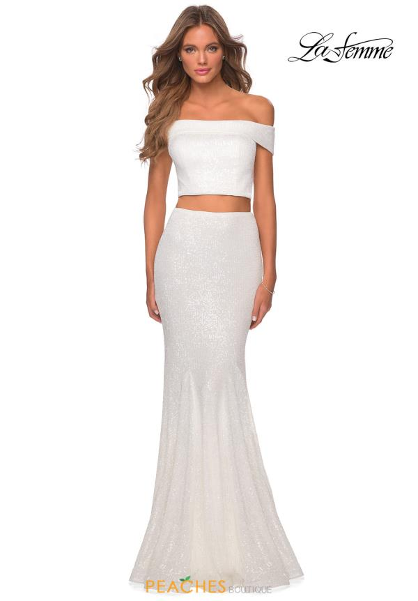 La Femme Fitted Cap Sleeve Dress 28425