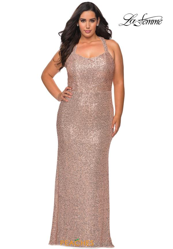 La Femme Halter Fitted Dress 28842
