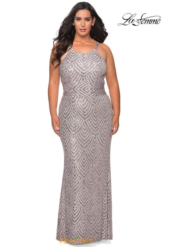 La Femme High Neckline Sequins Dress 28860