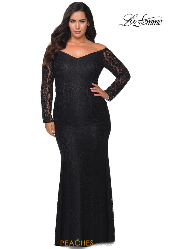La Femme Long Sleeve Fitted Dress 28945