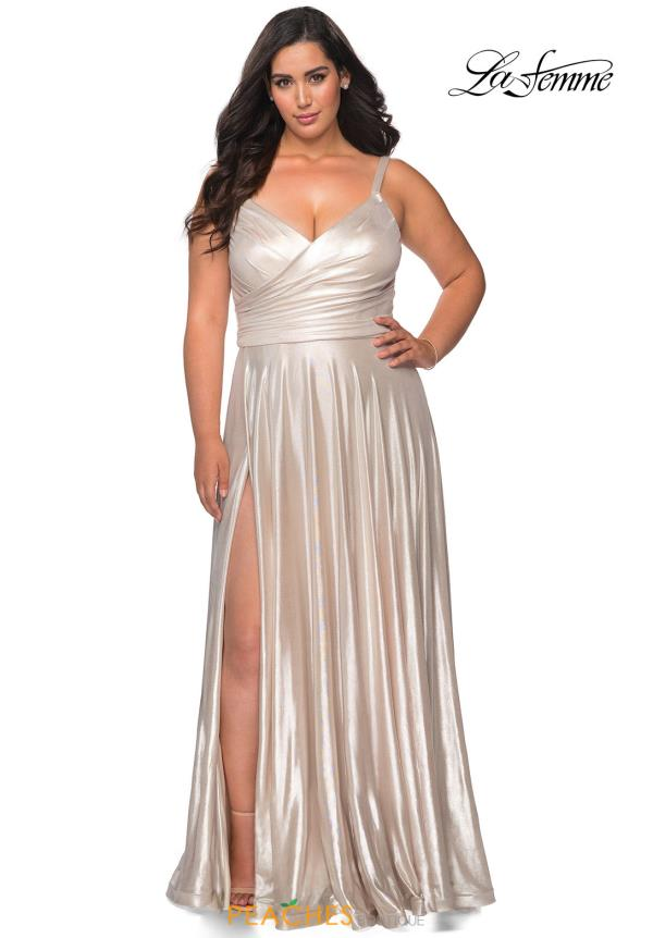 La Femme V-Neck Glitter Dress 28989