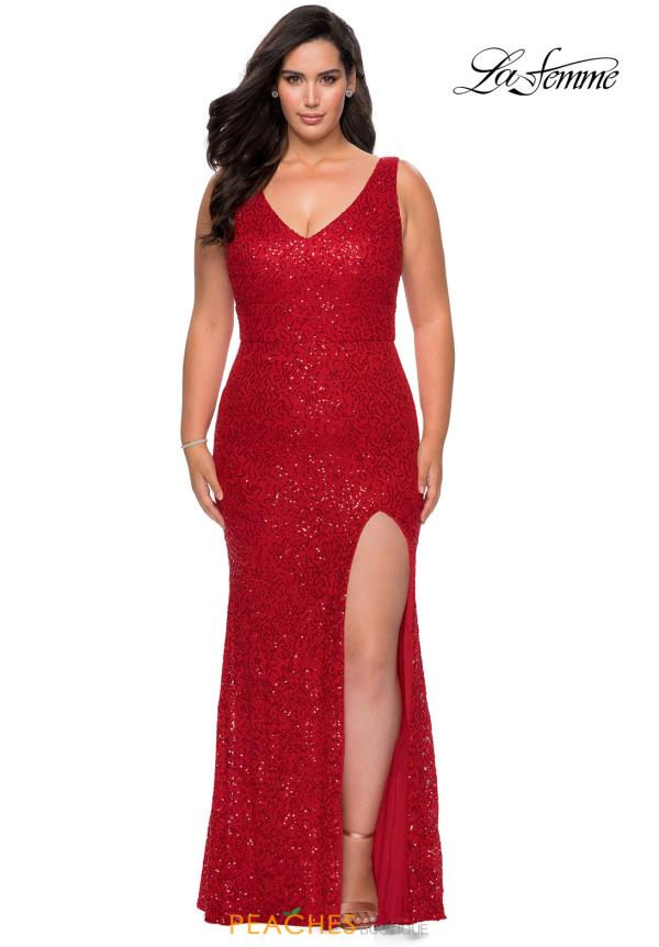 La Femme Beaded Fitted Dress 29001