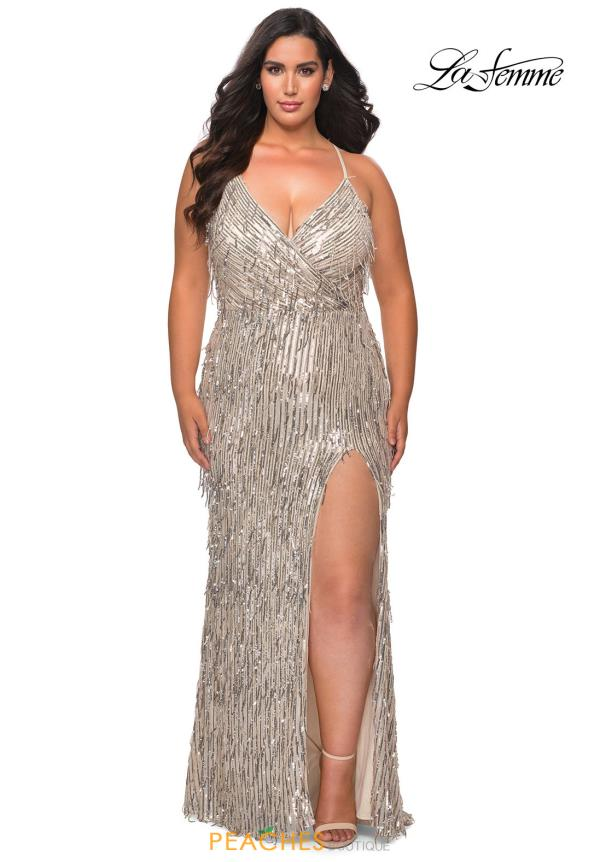 La Femme Fitted Beaded Dress 29013
