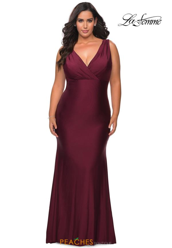 La Femme Long Fitted Dress 29016