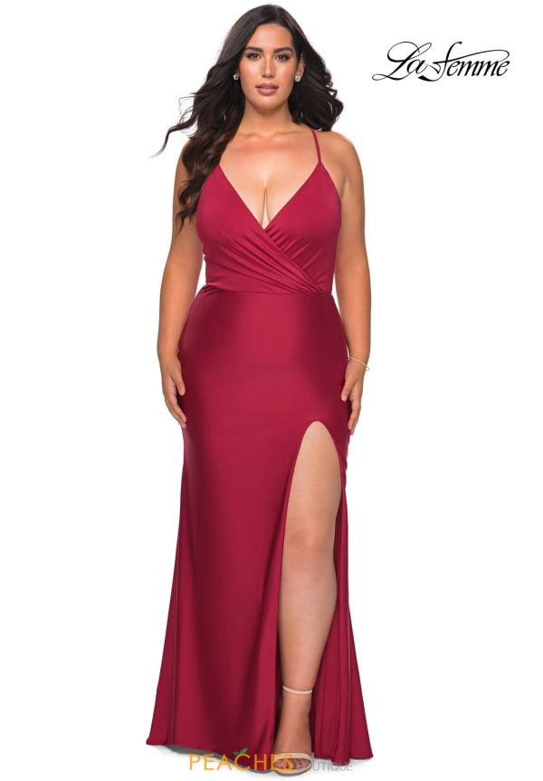 La Femme V-Neck Jersey Dress 29022