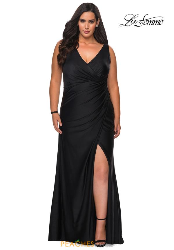 La Femme V-Neck Jersey Dress 29024