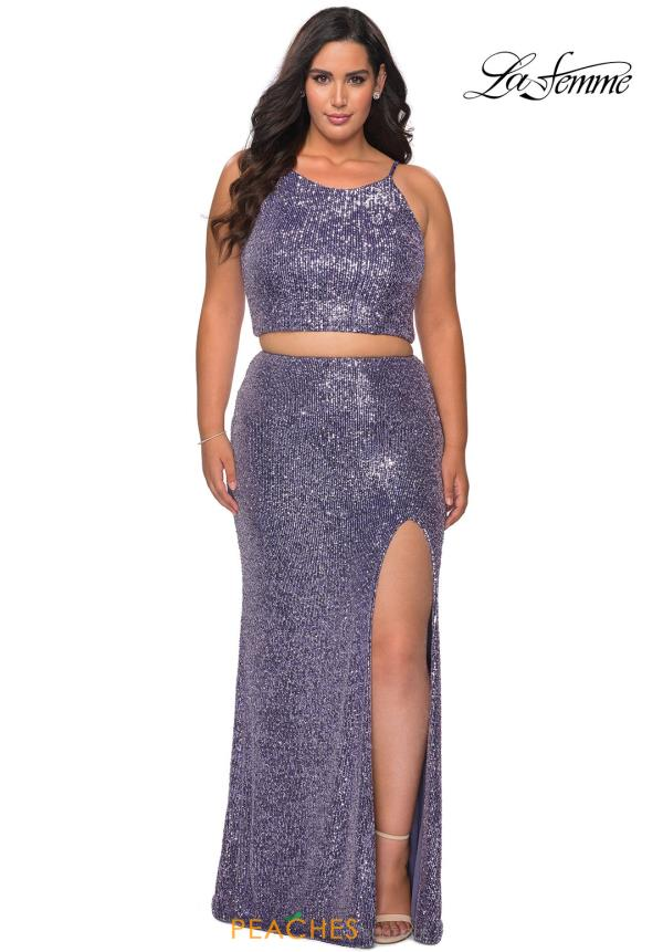 La Femme Halter Two Piece Dress 29026