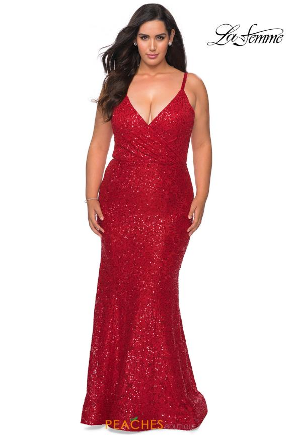 La Femme V-Neck Beaded Dress 29063