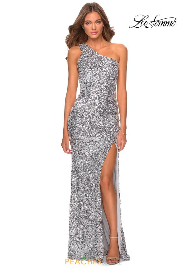 La Femme Beaded Fitted Dress 28596